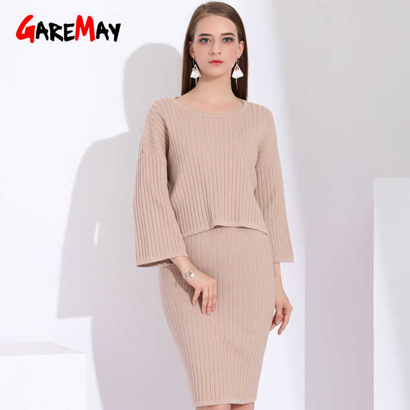 78ddd77ecf3 Women 2 Piece Set Knitted Top With Skirt Autumn Knitted Sweater Womens  Suits Skirt With Top