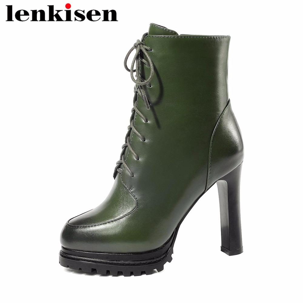 Lenkisen british style round toe solid super high heels cow leather platform zip new fashion retro sexy women ankle boots L21Lenkisen british style round toe solid super high heels cow leather platform zip new fashion retro sexy women ankle boots L21