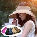 2017 de la moda de playa sombra tapa sombrero de copa vacía paja protector solar sombrero femenino del verano plegable sombrero de sol al por mayor