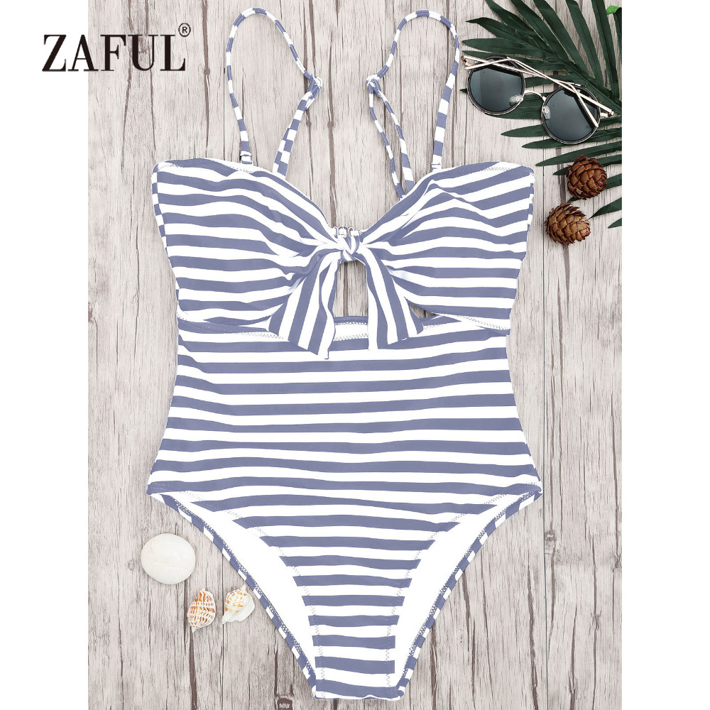 ZAFUL New Striped Knot Front Cutout One Piece Swimsuit Print High Waisted Monochrome Optional Knot Front Tummy Control Swimwear
