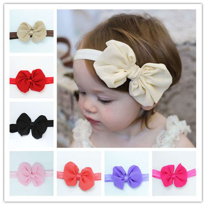 New Chiffon bow for girls boys Small Cute Bow Tie Headband Ribbon Bow Elastic Hair Bands Hair Accessories Bow-knot   Headwear