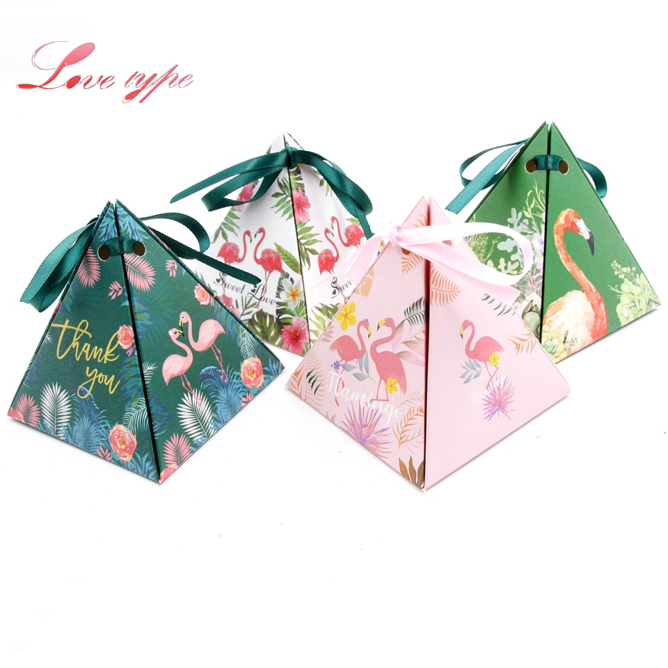 10pcs/lot Beautiful Gift Candy Box 4 Styles Flamingo Theme Birthday Party Decor Wedding Favors and Gift Boxes Party Supplies