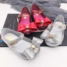 Mini Melissa Glitter Bow Cute Girls Jelly Sandals 2019 New Children Shoes Non-slip Beach High Quality