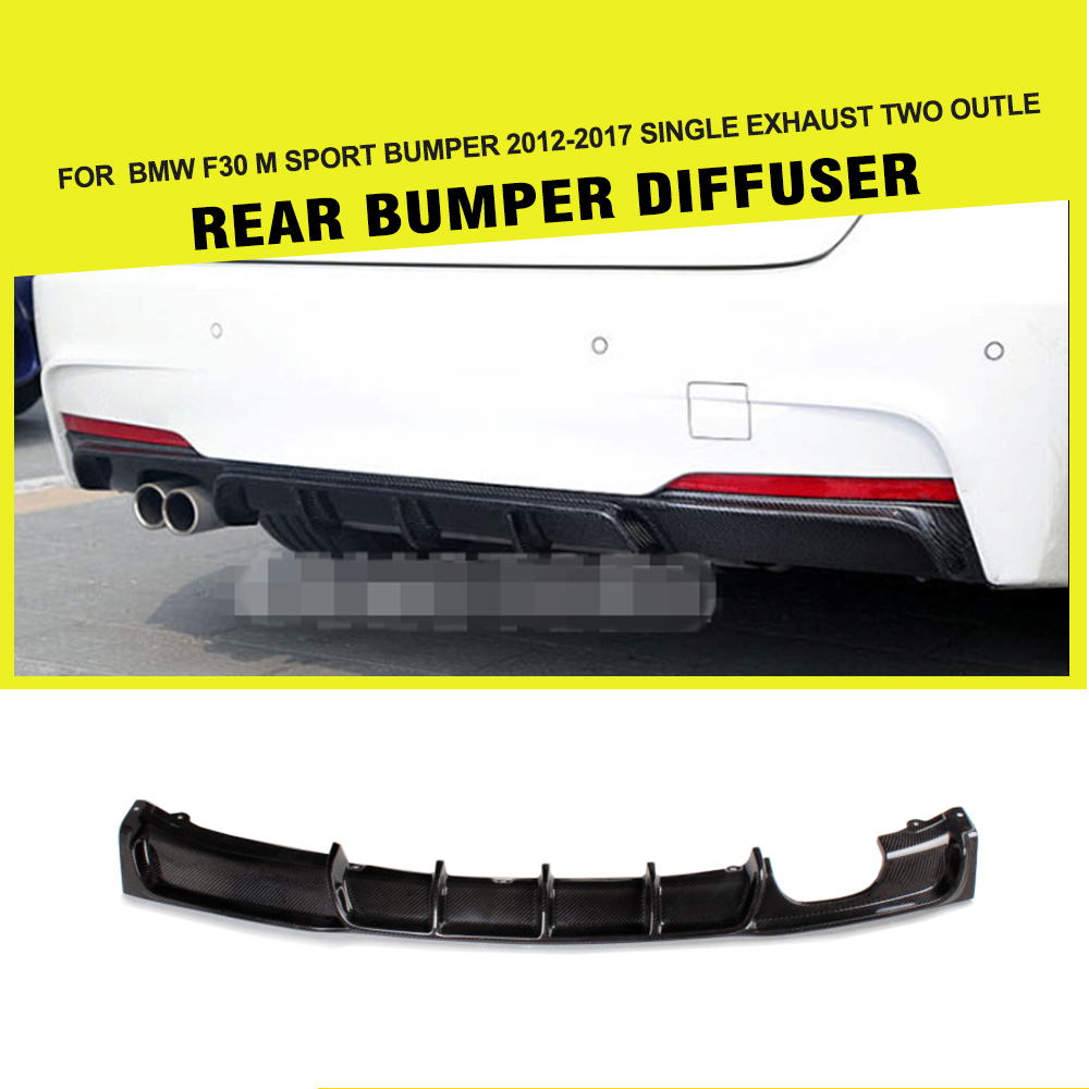 Car Styling Carbon Firber / FRP Rear Diffuser Lip Spoiler For BMW F30 M Sport bumper 2012-2017 single exhaust Two Outlet