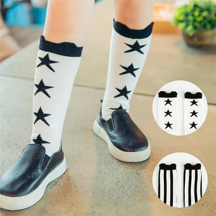 Baby Socks Long Knee High Socks Cotton Black And White
