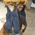 new 2017 Wholesale Summer Fashion Girls Cotton lace strap black blue jeans