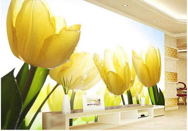 modern living room wallpapers Yellow tulip flower TV backdrop wall ...