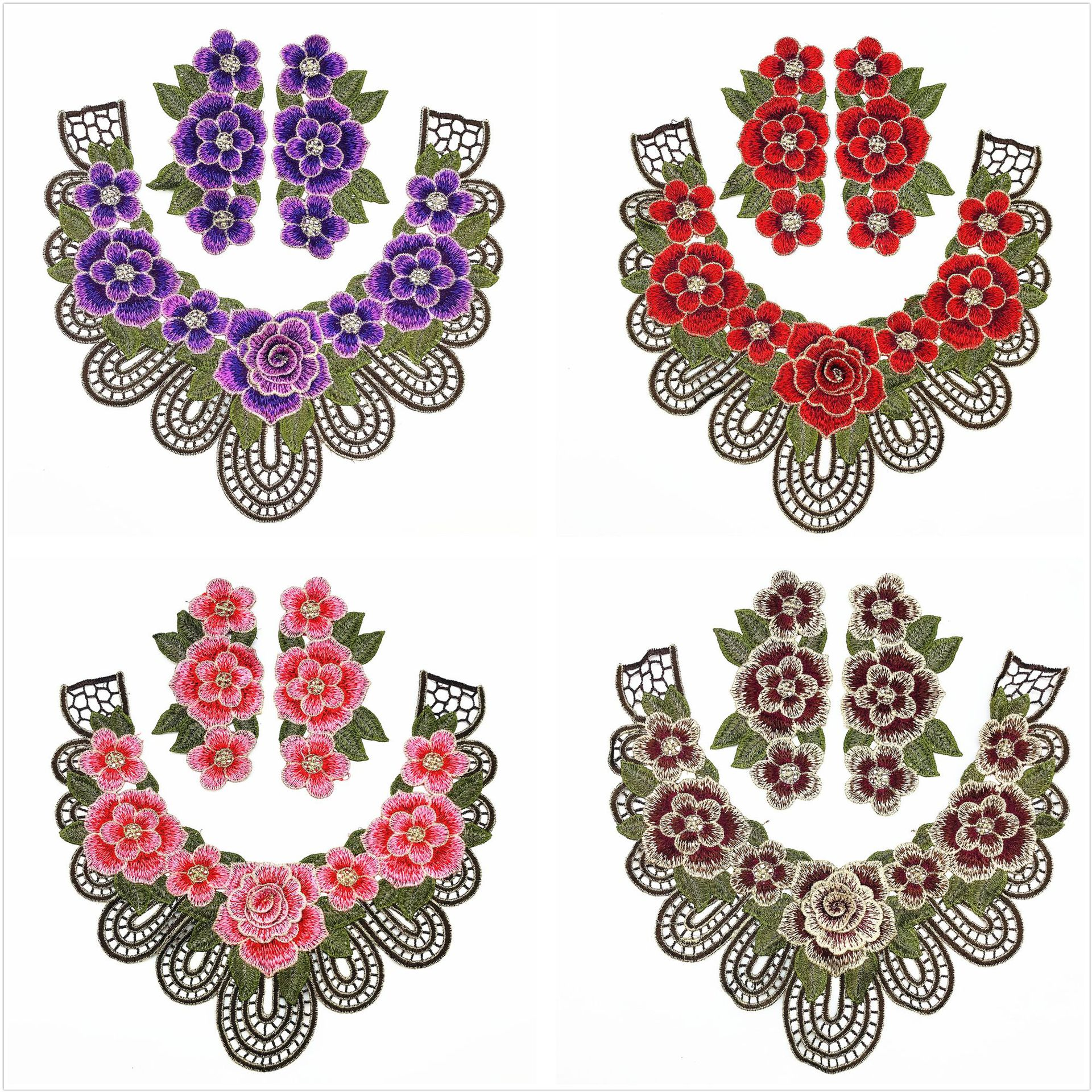 DIY Decoration Accessories 3 D Flower Patches Embroidery 3 Pieces 1 Set High Quality Classical Flowers
