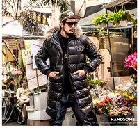 Зимние большие размеры Мужская одежда белый пуховик Куртка Мужской Длинные теплая парка с натуральным мехом капюшон черный XL 2XL 3XL 4XL 5XL 6XL