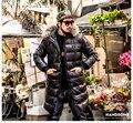 Invierno más tamaño ropa de los hombres de pato blanco abajo de la capa masculina chaqueta larga cálido parka con capucha de piel real negro XL 2XL 3XL 4XL 5XL 6XL