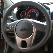 Free Shipping High Quality cowhide Top Layer Leather handmade Sewing Steering wheel covers protect For KIA Forte/Soul/Rio hand stitched black leather steering wheel cover for kia forte kia soul kia rio 2009 2011