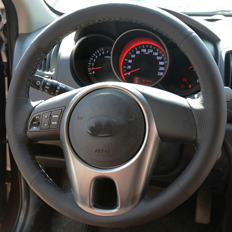 Free Shipping High Quality cowhide Top Layer Leather handmade Sewing Steering wheel covers protect For KIA Forte/Soul/Rio