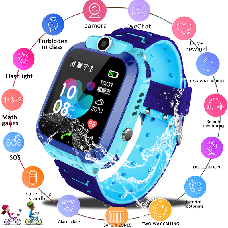 LIGE 2019 New Waterproof smart Child Watch SOS Emergency Call smartwatch LBS Positioning Tracking kids smart watch Children+Box