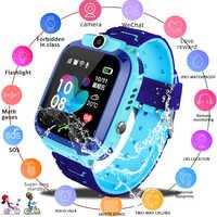 Lige 2019 novo à prova dsmart água inteligente relógio criança sos chamada de emergência smartwatch lbs posicionamento rastreamento crianças relógio inteligente + caixa