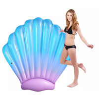 Gradient blue 150cm Giant Inflatable Shell Float 2018 Newest Pool Party Water Toys Adult Mattress Swimming Ring For Women boia