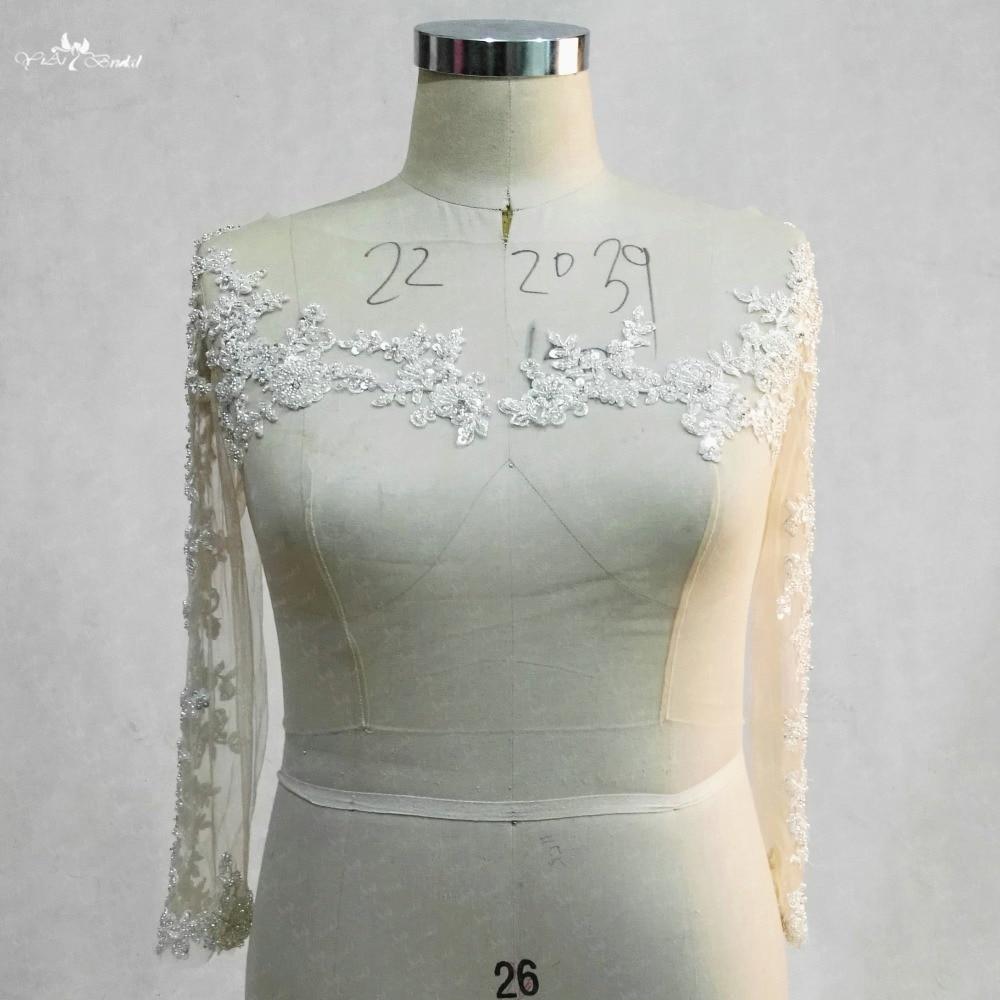 RSJ142 Boat Neckline 3 4 Long Sleeves Lace Beaded Wedding Bolero