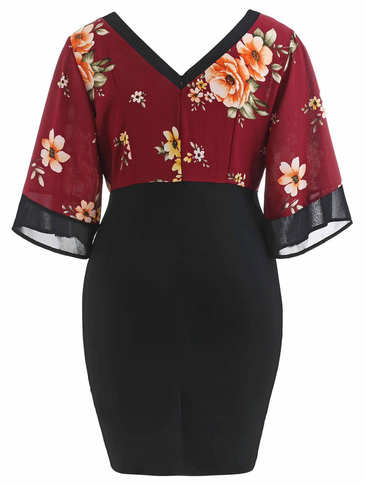 Wipalo Женское платье с рукавами-колокольчиками большого размера, платье-футляр с глубоким вырезом и цветочным принтом, рукава три четверти, большой размер, коктельное платье, платье в офис