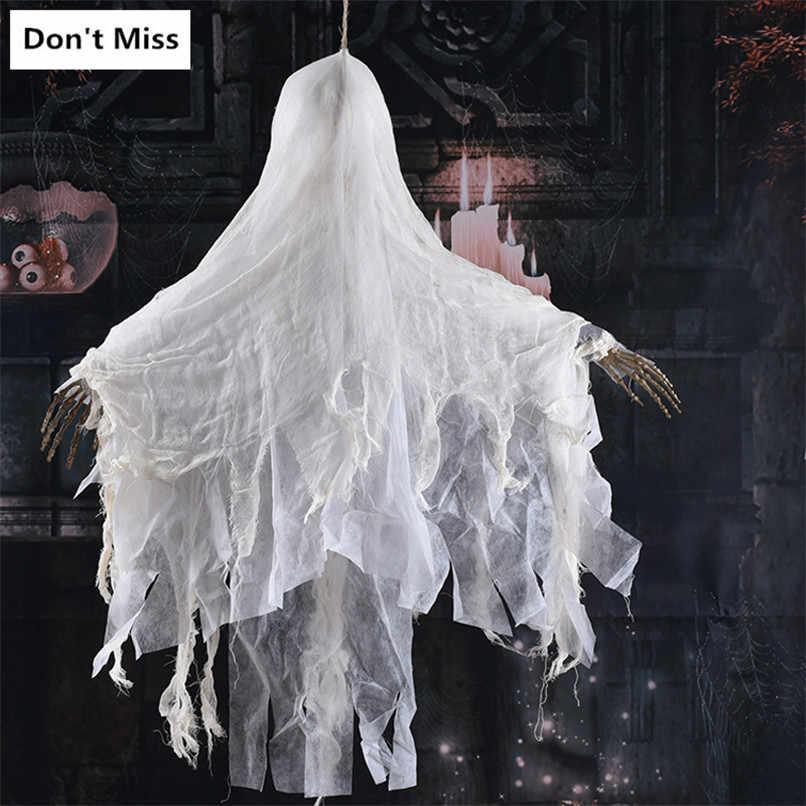 Horror Hängen Geist Halloween Erschrecken Requisiten Kein Gesicht Mann Glowing Spielzeug Schrecklichen Spooky Hängen Schädel mit Kette Spukhaus