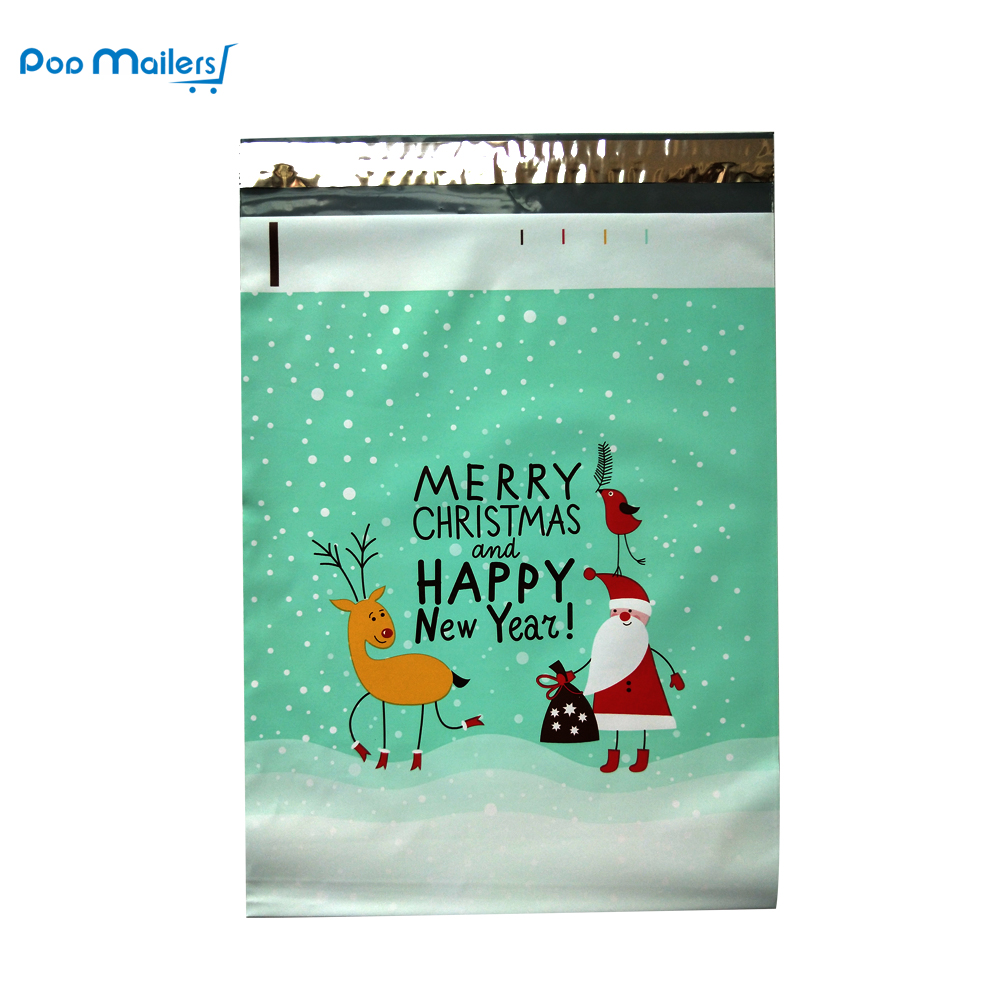 цена на 100pcs 25.5x33cm 10x13 inch Christmas theme pattern Poly Mailers Self Seal Plastic Envelope Bags/Christmas gift mailing bag
