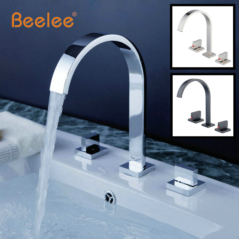 Beelee BL18349C Chrome Bathroom Basin Faucet Vessel Sink Mixer Tap Double Handles Three Holes Bathtub Faucet chrome polished bathroom sink faucet 3pcs double handles three holes basin faucet deck mounted