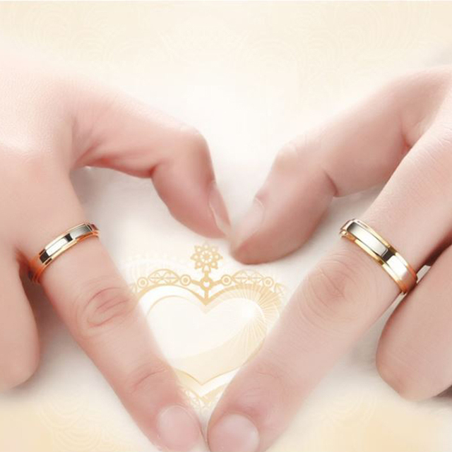 Wedding Ring Silver Gold Color Simple Design 4