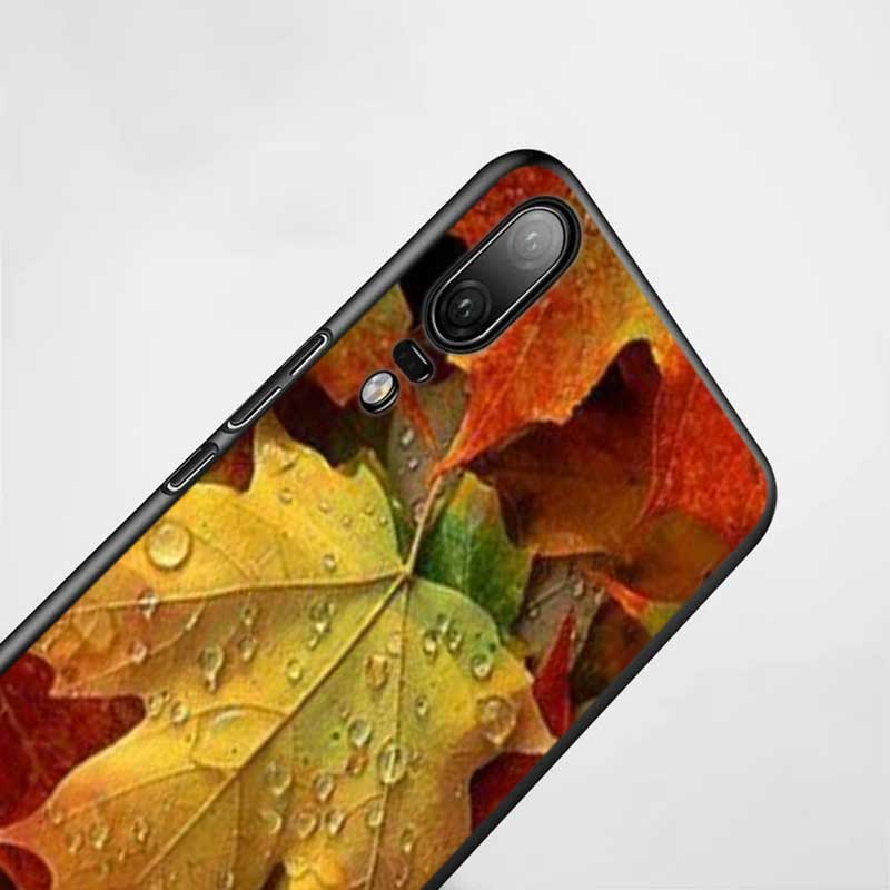 Black Silicon Phone Case Autumn maple leaf For Huawei P8 P9 P10 P20 P30 Pro Lite P Smart Plus Y6 Y7 Y9 2019 2017 in Fitted Cases from Cellphones Telecommunications