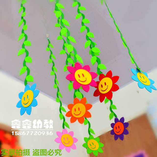 Classroom Decoration Hanging Ideas ~ Hallway mall arranged air curtain kindergarten classroom