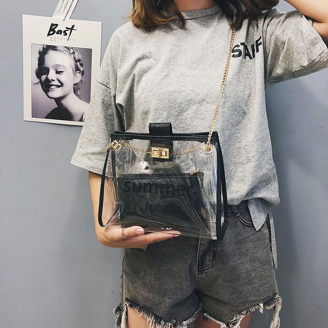 Osmond 2018 Women Clear PVC Transparent Handbags And Purses Chain Bag Set Shining Leather Shoulder Bag Female Beach Bucket Totes