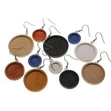10pcs Wood Cabochon Earring Base 12mm 20mm 25mm dia Blank Bezel Settings diy Stainless Steel Ear Wire Hooks Jewelry Findings gr1 titanium wire dia 0 12mm 1kg free shipping