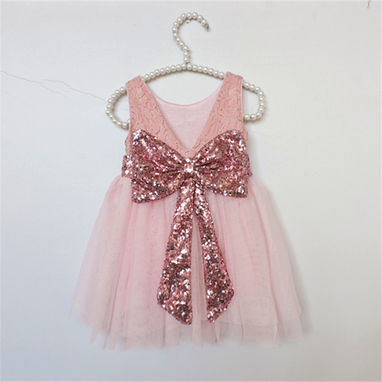 aliexpresscom buy ems dhl free summer new girls princess dress lace bow v back tulle gauze sequin sparkle sleeveless dress children clothing from - Valentine Dresses For Girls