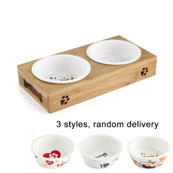 TECHOME New Popular Cat Dog Pet Stainless Steel/Ceramic Feeding and Drinking Bowls Combination with Bamboo Frame for Dogs Cats