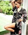 Бесплатная доставка продажа черный китайский женский атласном платье печатных цветочные и павлин ванна платье в классическом юката ночная рубашка один размер