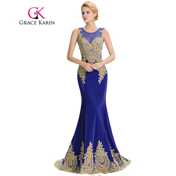 Grace Karin Long Prom Dresses 2017 Satin Black White Red Royal Blue Mermaid Prom Dress Elegant Ballkleider Formal Dresses GK0026