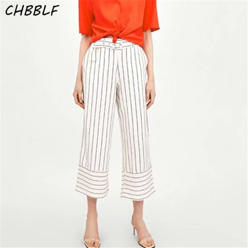 CHBBLF women casual striped   wide     leg     pants   belt waist side zipper female streetwear chic trouser BGB8301