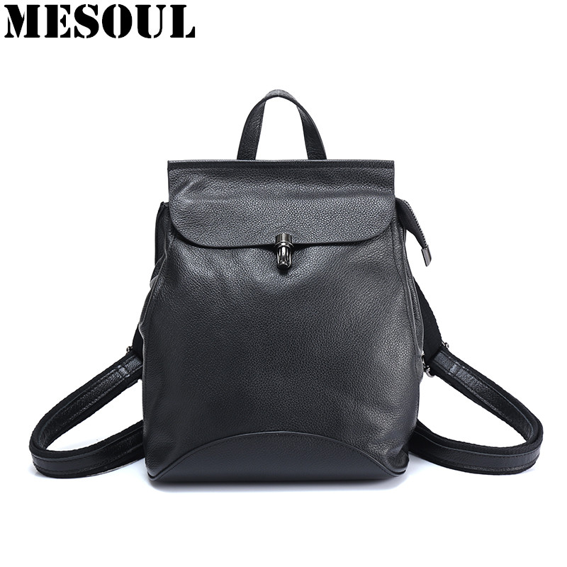 MESOUL Women Backpack High Quality Casual Genuine Leather Backpacks for Teenage Girls Female School Shoulder Bag Bagpack Mochila jmd backpacks for teenage girls women leather with headphone jack backpack school bag casual large capacity vintage laptop bag