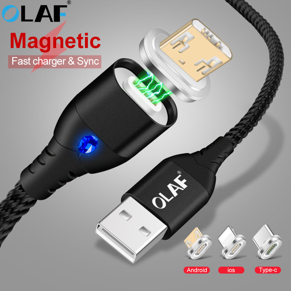 OLAF Magnetic USB Cable For iPhone XS Type C Magnet Charger Data Charging Charge Micro USB Cable For Android Mobile Phone Cables iPhone XS