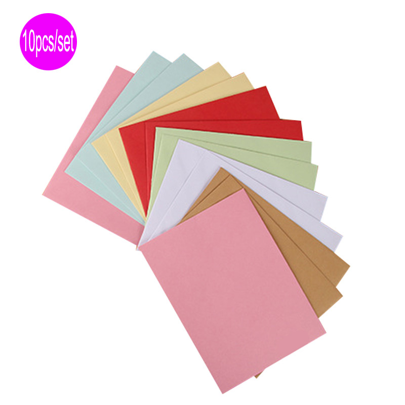 Delvtch 10pcs/Set 8colors Paper Envelopes Vintage Retro Style Envelope For Office School Card Scrapbooking Holiday Gift