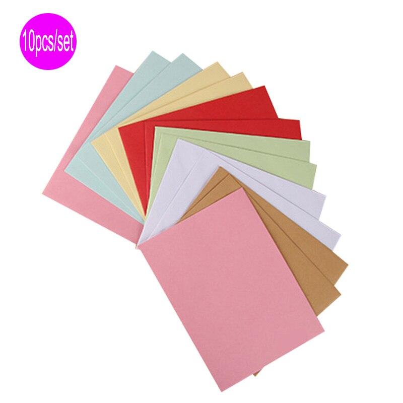 DELVTCH 10pcs/set 8Colors Paper Envelopes Vintage Retro Style Envelope For Office School Card Scrapbooking Holiday Gift