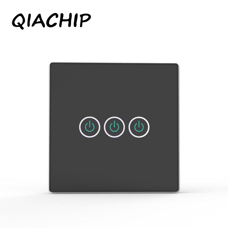 QIACHIP EU Wall Switch Touch Switch Sensor Switch ST1 2Gang Smart Remote Control Luxury Crystal Glass Panel Surface Waterproof R hot sale 2016 remote control ligth switch 220v crystal glass panel smart wall touch switch 2gang remote light switches