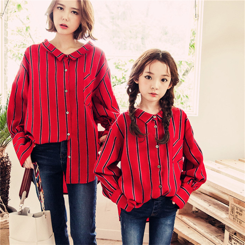 Mom and Daughter Shirt 2018 Autumn Long Sleeve Stripe Cotton Mother Daughter Dresses Matching Outfits New Family Look Clothes mother daughter long lace cotton bohemian dresses matching mother daughter clothes dress family look mother daughter outfits