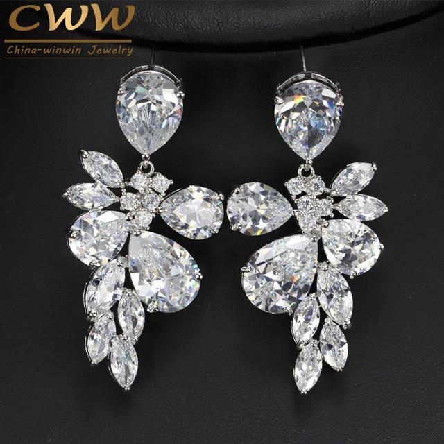 Austrian Design White Gold Plated Multi-Shape CZ Diamond Big Crystal Drop Bridal Long Earrings For Wedding Brides CZ247