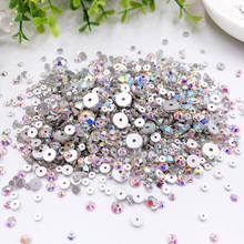 500Pcs 3/4/5/6/8mm Mix Size Round Sew On Stones Crystal Clear AB Color Flatback With One Hole Glass Sewing Crystals Dress