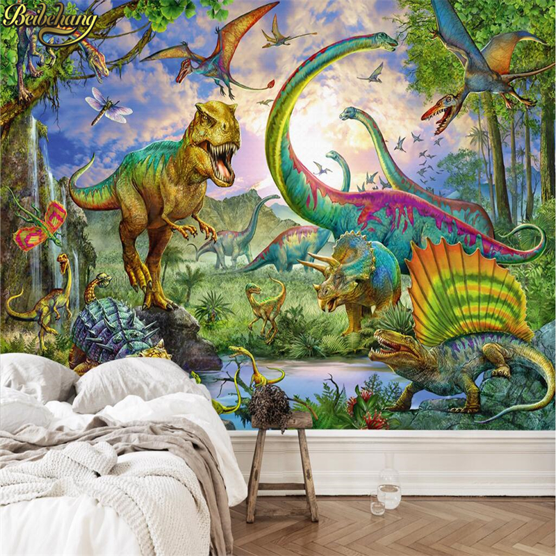 beibehang Horror dinosaur Landscape Wall paper papel de parede 3D Photo Mural Bedroom Hotel Restaurant wallpaper for walls 3 d Велюр