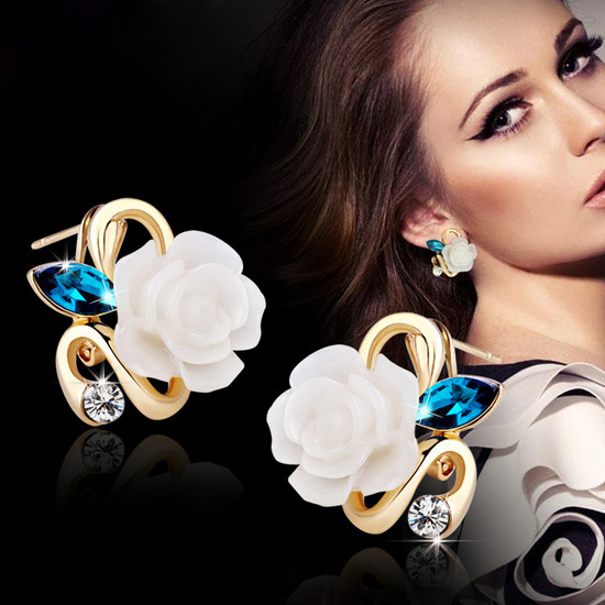 New Fashion Crystal Stud Earrings Hot Sale Classic Gold-color Rose Flower Earring For Women Girls Brincos Jewelry E25
