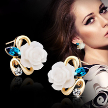 New Fashion Crystal Stud Earrings Hot Sale Classic 18K Gold Plated Rose Flower Earring For Women Girls Brincos Jewelry E25