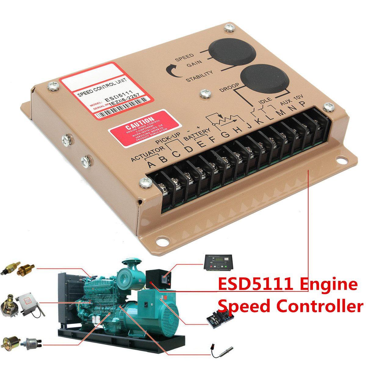 Contrôleur électronique d'unité de régulateur de vitesse de moteur pour pièces de groupe électrogène Diesel ESD5111 Instructions en anglais