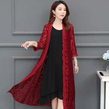 Fashion Ladies Summer Long Lace Cardigan Shirt Full Sleeves Red Burgundy Black Floral Kimono Casual Blouse Top2019