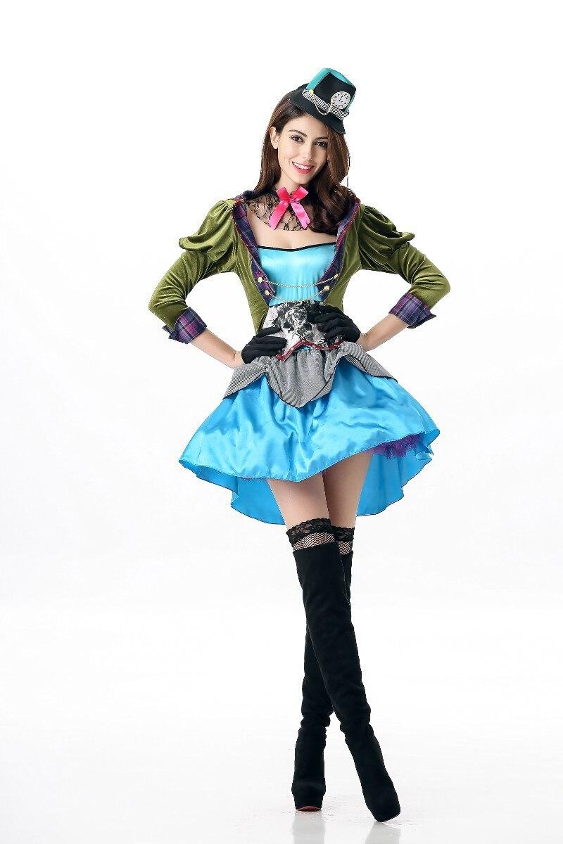 2018 Adult Alice In Wonderland Costume Womens Mad Hatter Fancy Dress ...