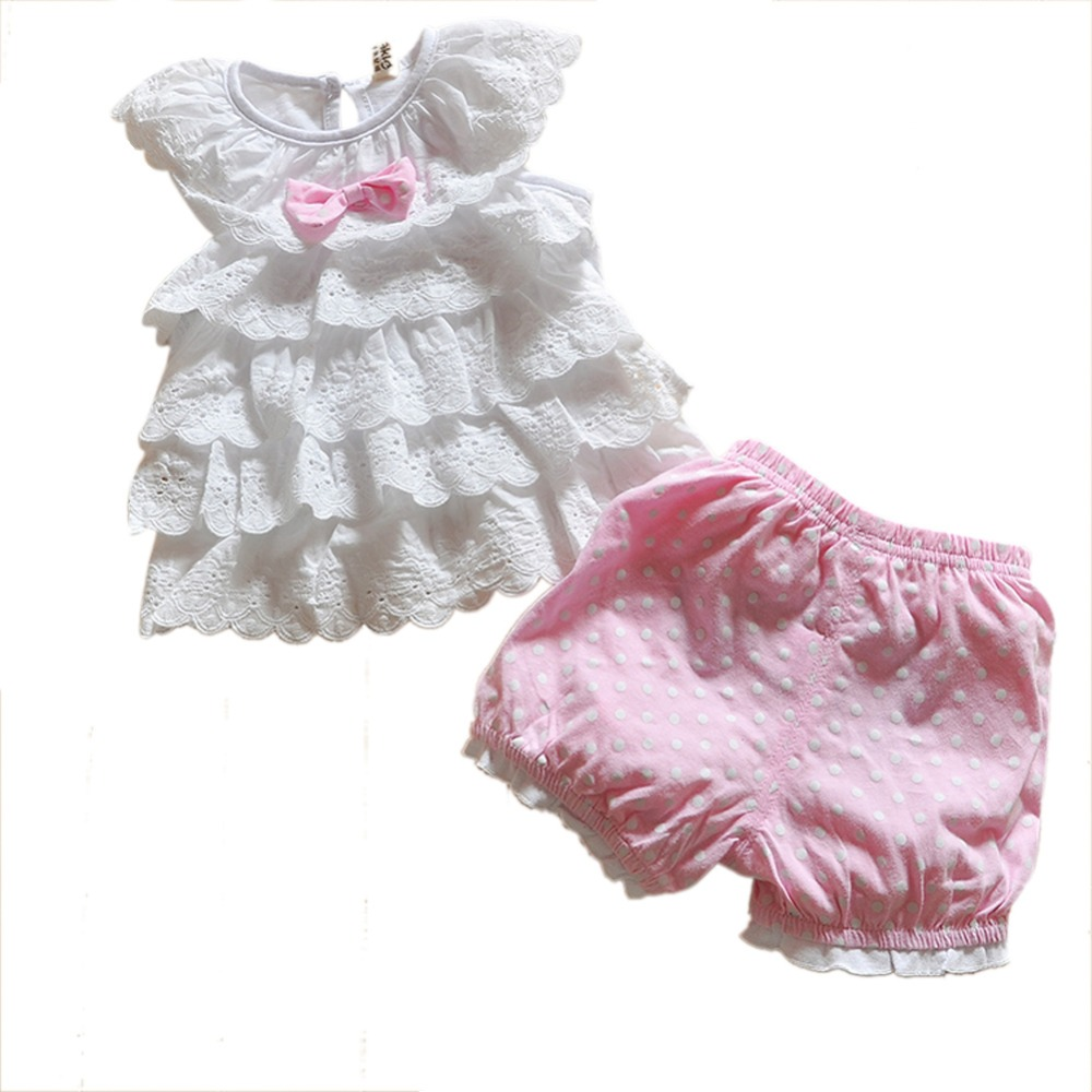 ФОТО kids baby girls cute beautiful blue pink polka dot 2pcs top+pants outfits costume clothes 0-2y