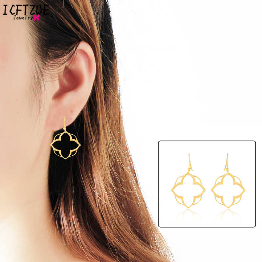 DIANSHANGKAITUOZHE Mandala Earring Lotus Clover Gold Colour Famous Brand Earring for Women Vintage Pendientes Mujer Body Jewelry
